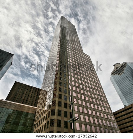 Editorial Use Only: Houston Skyscraper Behemoth Against Dramatic Sky Panorama (Release Information: Editorial Use Only. Use of this image in advertising or for promotional purposes is prohibited.)