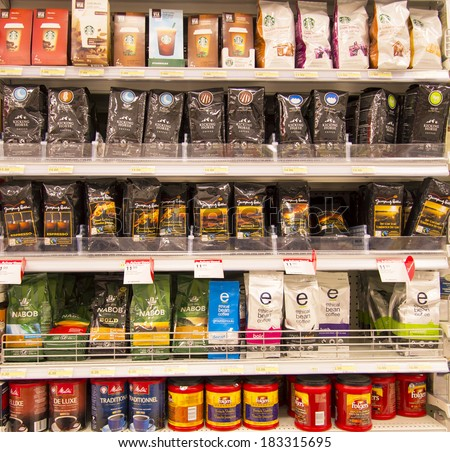 EDMONTON, AB, CANADA-March 23, 2014: Assorted coffee is on display in a grocery store on March 23rd, 2014.  - stock photo