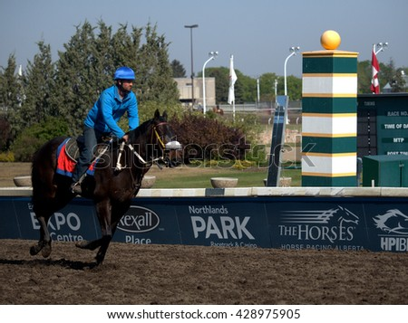 Edmonton, AB,CANADA MAY 13 - Horse passes the post during training for the last horseracing season at Edmonton's Northlands Racetrack. It will close in the fall of 2016 after over 100 years of racing. - stock photo