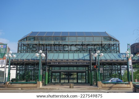 EDMONTON, CANADA - AUGUST 8, 2014: The Shaw Conference Centre is a meeting entertainment and convention venue - stock photo