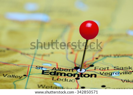 Edmonton pinned on a map of Canada  - stock photo