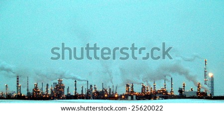Edmonton's petrochemical refineries process much of the oil sand produced by the Fort McMurray, Alberta open pit mines 440 kms to the north - stock photo