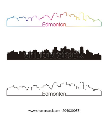 Edmonton skyline linear style with rainbow