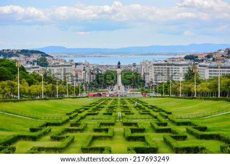 Eduardo VII park and gardens in Lisbon, Portugal - stock photo