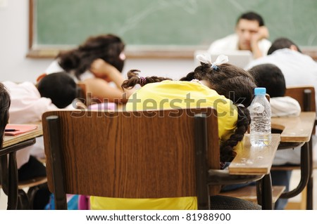 Education activities in classroom at school, sleeping all - stock photo