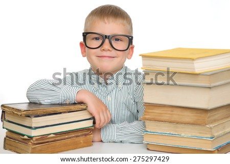 Education. Adorable kid with books