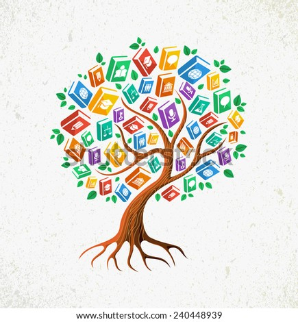 Education and back to school concept tree with learn subjects icons book illustration.