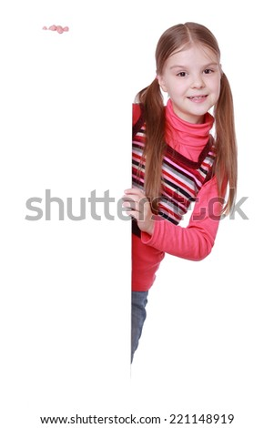 education and blank board concept - little girl with blank white board/little girl and white blank with empty space for text or picture - stock photo