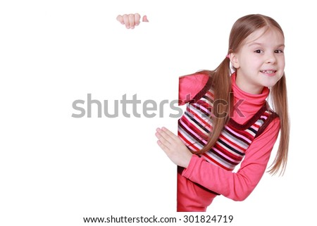 education and blank board concept - little girl with blank white board/little girl and white blank with empty space for text or picture
