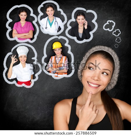 Education and career choice options - student thinking of future. Young Asian woman contemplating career options smiling looking up at thought bubbles on a blackboard with different professions - stock photo
