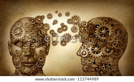 Education and leadership teamwork as a learning and lead icon by two human heads frontal and side view with gears on a grunge old vintage document as an idea made of cogs as a team partnership. - stock photo