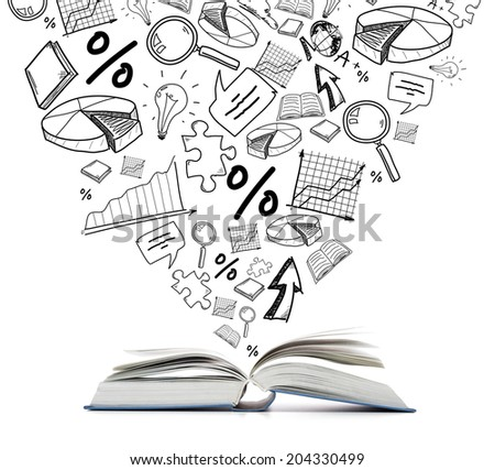education and reading concept - open book with different symbol doodles - stock photo