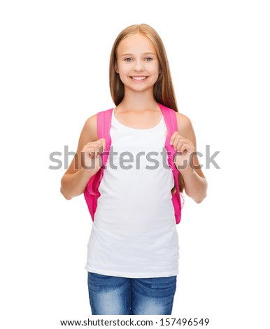 education and school concept - happy and smiling teenage girl in blank white tank top - stock photo