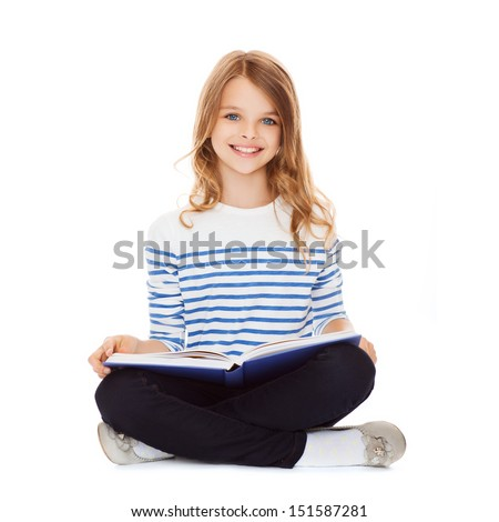 education and school concept - little student girl studying and reading book - stock photo