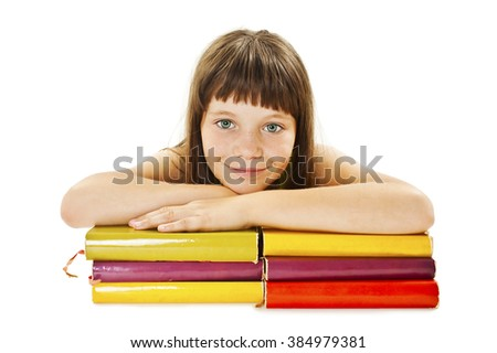 Education and school concept - smiling young student girl with many books. Isolated on white background  - stock photo