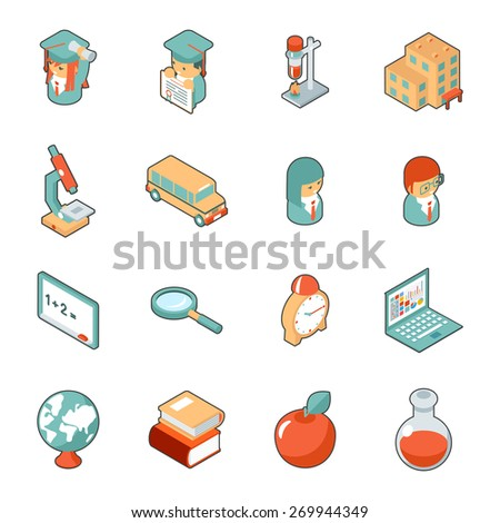 Education and school isometric 3d icons. Science and university, college and graduation - stock photo