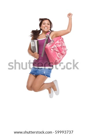 education back to school series - Friendly ethnic Latina woman high school student with backpack and composition book in jeans skirt jumping in excitement - stock photo