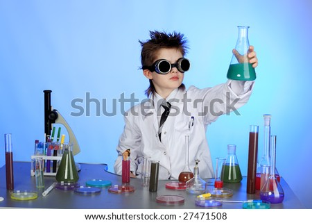 Education background: Funny Teen. Shot in studio. - stock photo