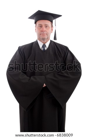 Education background: serious man in a academic gown.