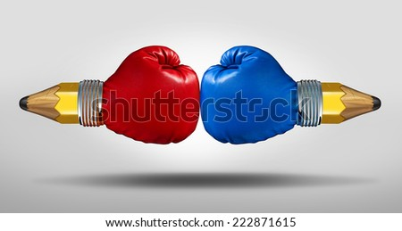 Education battle concept as two pencils with boxing gloves fighting for opposing learning and school curriculum ideology.