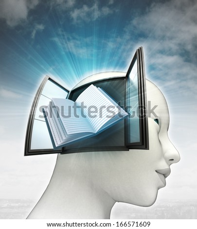 education book coming out or in human head with sky background illustration - stock photo