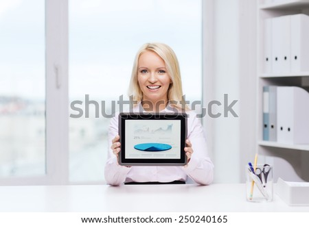 education, business and technology concept - smiling businesswoman or student showing tablet pc computer screen in office - stock photo
