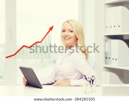 education, business and technology concept - smiling businesswoman or student with tablet pc computer in office - stock photo