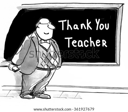 Education cartoon.  The students have written 'thank you' to the teacher on the blackboard.  - stock photo