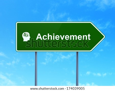 Education concept: Achievement and Head With Finance Symbol icon on green road (highway) sign, clear blue sky background, 3d render - stock photo