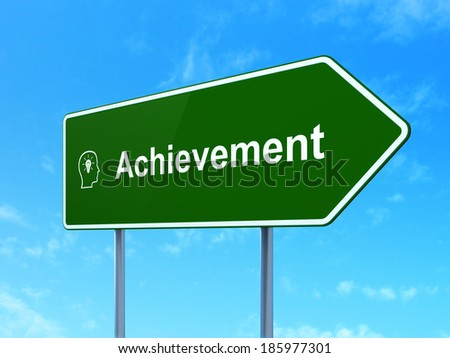 Education concept: Achievement and Head With Lightbulb icon on green road (highway) sign, clear blue sky background, 3d render - stock photo
