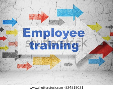 Education concept:  arrow with Employee Training on grunge textured concrete wall background, 3D rendering