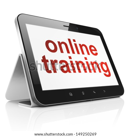 Education concept: black tablet pc computer with text Online Training on display. Generic modern portable touch pad device on White background, 3d render - stock photo