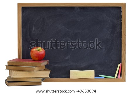 education concept - blank blackboard with white chalk texture, red apple on a stack of old textbooks, sponge eraser, color chalk, isolated on white with clipping path - stock photo