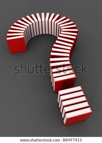 Education concept book formed a question mark 3d illustration - stock photo