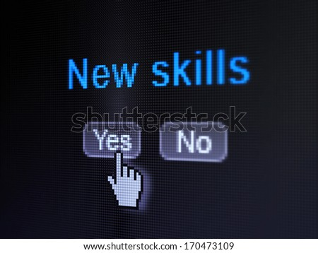 Education concept: buttons yes and no with pixelated word New Skills and Hand cursor on digital computer screen, selected focus 3d render - stock photo