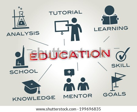 education concept. Chart with keyword and icons - stock photo