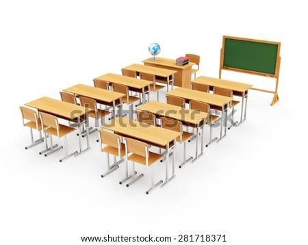 Education Concept. Classroom Interior with Portable Green Chalkboard isolated on a white background. 3D Rendering - stock photo