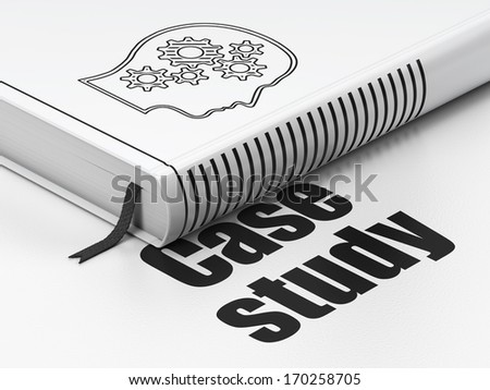 Education concept: closed book with Black Head With Gears icon and text Case Study on floor, white background, 3d render - stock photo