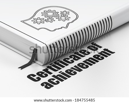 Education concept: closed book with Black Head With Gears icon and text Certificate of Achievement on floor, white background, 3d render