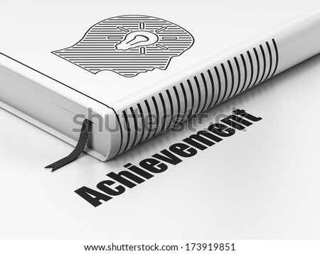 Education concept: closed book with Black Head With Light Bulb icon and text Achievement on floor, white background, 3d render