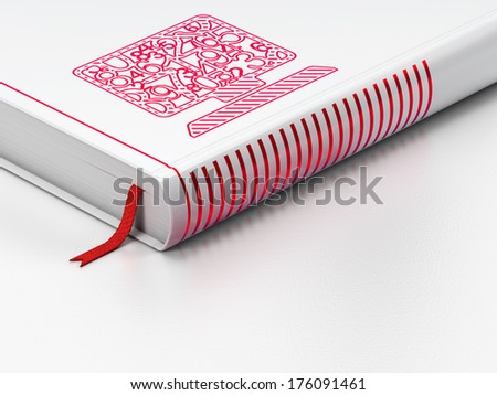 Education concept: closed book with Red Computer Pc icon on floor, white background, 3d render - stock photo