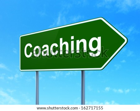 Education concept: Coaching on green road (highway) sign, clear blue sky background, 3d render - stock photo