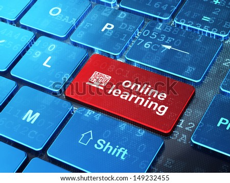 Education concept: computer keyboard with Computer Pc icon and word Online Learning on enter button background, 3d render - stock photo