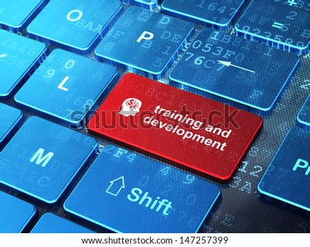 Education concept: computer keyboard with Head With Finance Symbol icon and word Training and Development on enter button background, 3d render - stock photo