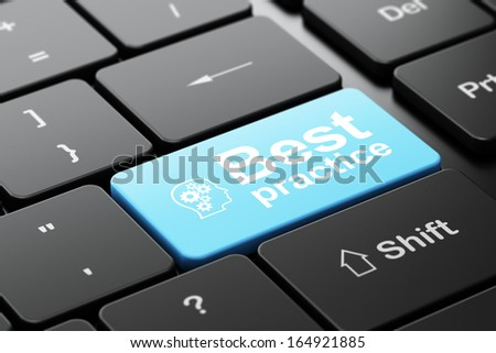 Education concept: computer keyboard with Head With Gears icon and word Best Practice, selected focus on enter button, 3d render - stock photo