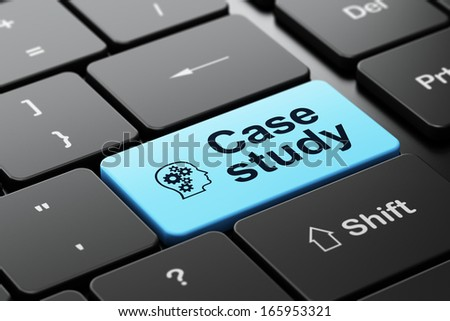 Education concept: computer keyboard with Head With Gears icon and word Case Study, selected focus on enter button, 3d render - stock photo
