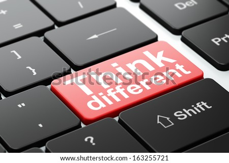 Education concept: computer keyboard with word Think Different, selected focus on enter button background, 3d render - stock photo