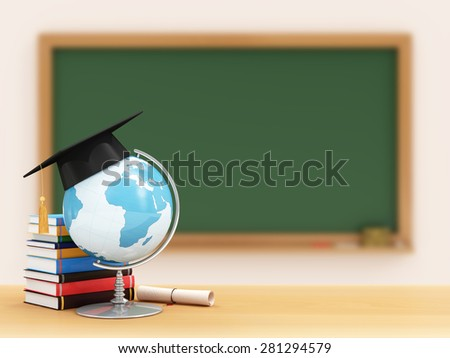 Education Concept. Desk Globe with Graduation Cap, Diploma and Books on a School Desk with Green Chalkboard on a Wall behind. (Elements of this image furnished by NASA). Focus Foreground. - stock photo