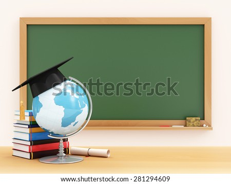 Education Concept. Desk Globe with Graduation Cap, Diploma and Books on a School Desk with Green Chalkboard on a Wall behind. (Elements of this image furnished by NASA) - stock photo