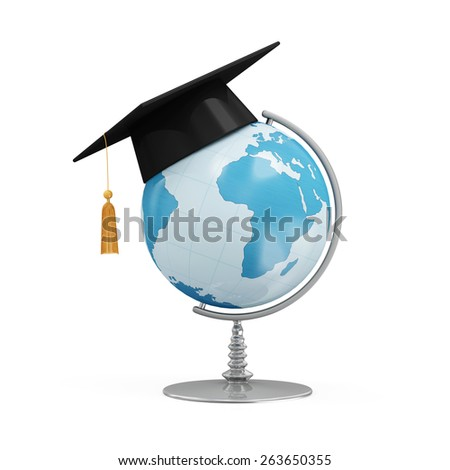 Education Concept. Desk Globe with Graduation Cap isolated on white background (Elements of this image furnished by NASA) - stock photo